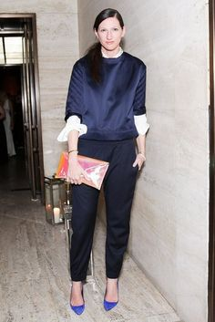 Don't be afraid of blue with black (and more blue) - looks so good on Jenna Lyons!