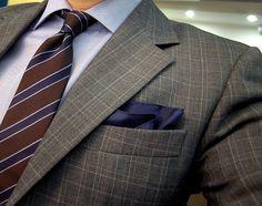 Grey plaid blazer + Silk pocket-square + Camicia Firenze shirt