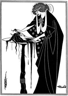 One of my favourite Art Nouveau artists at school was Aubrey Beardsley, who died of TB at twenty-five. I think I probably came across him through his illustrations for Oscar Wilde's 1896 play, Salomé. This is Salomé with the head of St John the Baptist. Steve Mccurry, Man Ray, L'art Adolescent, Salome Oscar Wilde, Business Photo, Motifs Art Nouveau, Illustration Art Nouveau, Vampire Illustration, Victorian Illustration