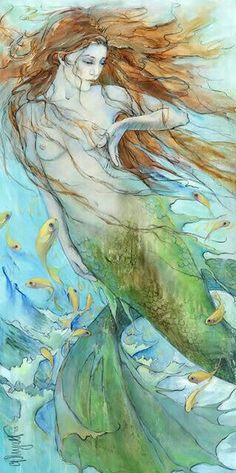 Christina P. Wyatt Water Music Mermaid painting on canvas. I love how beautiful this is. Mythical Creatures, Sea Creatures, Mermaid Fairy, Siren Mermaid, Sea Siren, Mermaid Tale, Water Nymphs, Mermaids And Mermen, Merfolk