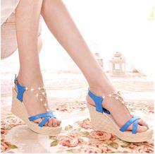 fashion women sandal high heels sandals quality rhinestones women's shoes platform sandals bohemia wedges shoes women(China (Mainland))