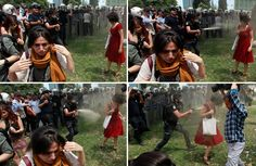 Woman in red dress, sprayed with tear gas by masked policeman, becomes symbol for Turkishprotesters