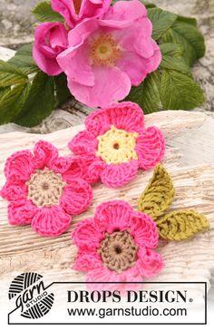 """Gehaakte DROPS bloemen: Rozengeur van """"Safran"""".  Gratis patronen van DROPS Design."""