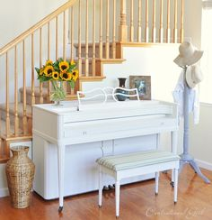painted piano - annie sloan old white
