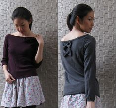 turn turtle neck sweater into a boat neck with bows