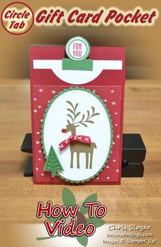 Circle Tab Gift Card Pocket - Gift Card Holder using Stampin' Up!'s Circle Tab Punch, Tabs for Everything and Merry Mistletoe - Christmas Gift Card Holders, Xmas Cards, Teacher Appreciation, Gift Cards Money, Origami, 3d Christmas, Pocket Cards, Stampin Up Cards, Cricut Cards