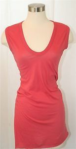 Enza Costa Long Sleeve Tissue Jersey Crew T Shirt MSRP $100 in Red Ochre