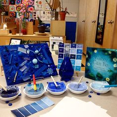 Our colour inquiry led to an interest in shades.  An invitation to explore graduating shades of blue to create ombré art.  ≈≈ #fdk #yorkukaq #inquirybasedlearning #colourinquiry