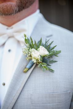 Blue thistle and spray rose boutonniere :: Alison + Jesse Thistle Boutonniere, Thistle Bouquet, White Rose Boutonniere, Groomsmen Boutonniere, Corsage And Boutonniere, Groom And Groomsmen, Boutonnieres, Winter Boutonniere, Groom Suits
