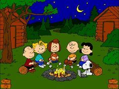 Peanuts gang, around the campfire...