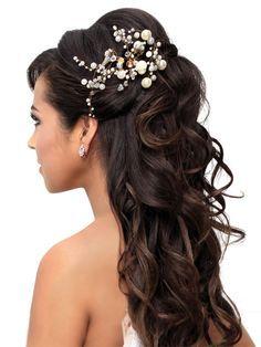 Half up half down dark brown bridal wedding curly long hair style crystal pearl hair accessory