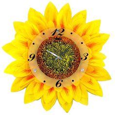 envío gratis venta al por mayor y al por menor de sonido de silencio amarillo forma de girasol reloj de arte que hizo por un chino famoso reloj de fábrica