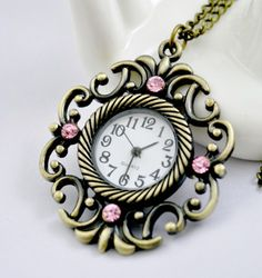 Vintage Curls Pink Jewel Necklace Watch