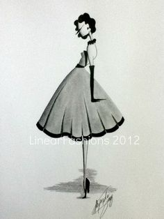 1950s Dress Fashion Illustration Home Decor by LinearFashions