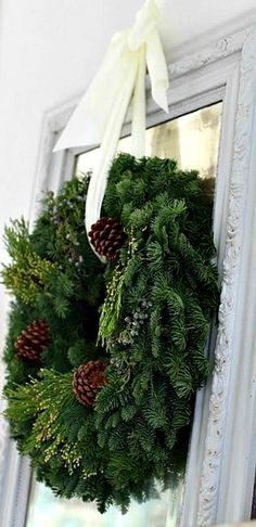 ╰☆A Southern Christmas☆╮ Evergreen Wreath Natural Christmas, Noel Christmas, Merry Little Christmas, Country Christmas, Beautiful Christmas, Winter Christmas, Xmas, Christmas Christmas, Simple Christmas