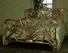 Mahogany Double Size Cheri Art Nouveau Gilt Gold Bed New Louis Art Nouveau Furniture, Antique Furniture, Art Nouveau Bedroom, Antique Beds, Bedroom Furniture, Art Deco Bed, Art Nouveau Interior, Victorian Furniture, Antique Art