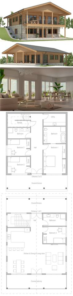 Vacation Home plan, Sloping lot house plan