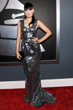 Jessie J Beaded Dress - Considering some of Jessie J's prior award show ensembles, her Julien MacDonald mirror gown was actually quite demure. If you can look past the disco ball element, the mermaid silhouette is actually quite pretty.