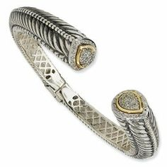 Sterling Silver Hinged Cuff Bracelet with 14k Yellow Gold Accents and 1/2 Carat Total Weight Diamonds Gunther Gifts. $575.00