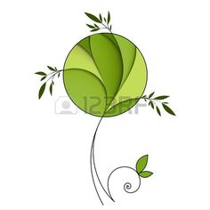 Stylized green tree Abstract icon Stock Vector