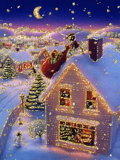 Have a blessing evening! Animated Christmas Pictures, Animated Christmas Tree, Merry Christmas Pictures, Christmas Scenery, Cosy Christmas, Vintage Christmas Images, Whimsical Christmas, Christmas Villages, Very Merry Christmas