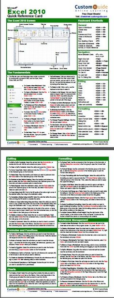 Free Excel 2010 Quick Reference Card. http://www.customguide.com/cheat_sheets/excel-2010-cheat-sheet.pdf