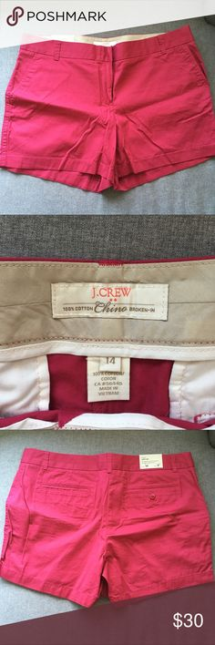 "🆕J. Crew Raspberry Shorts NWT. Raspberry Pink/ Fuchsia colored chino shorts. 5"" length. Offers welcome, bundles encouraged! J. Crew Factory Shorts"