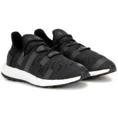 Y-3 Sport Approach Low Sneakers ($365) ❤ liked on Polyvore featuring shoes, sneakers, black, low shoes, low sneakers, black trainers, kohl shoes and black sneakers