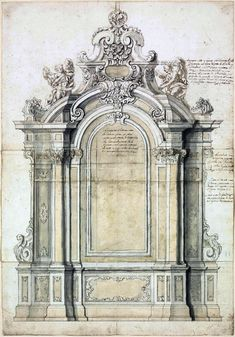"""Roman School: """"Design for an elaborate arched baroque altar, flanked by Corinthian columns and pilasters, extensively inscribed with directions for the sculptors"""". c. 1720."""