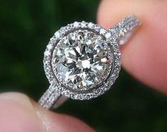 14k White gold Diamond Engagement Ring Halo by BeautifulPetra