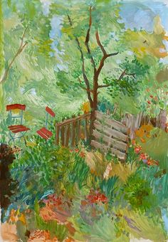 Rote Stühle im Garten Scenery Paintings, Landscape Paintings, Oil Painting App, Building Painting, Green Plants, Coloring Pages, Planets, Yard, Drawings
