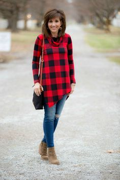 Fashion blogger, Cyndi Spivey, styling a buffalo check tunic from Glamour Farms.
