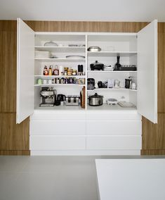 Fitted with bifold doors, adjustable shelving, power points and bench space to create a functional appliance cabinet. Wooden Pantry, Kitchen Pantry Doors, Pantry Closet, Closet Doors, Kitchen Reno, Kitchen Stuff, Kitchen Ideas, Kitchen Cabinets, Wood Closet Shelves