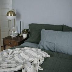 Linnen dekbedovertrek donkergroen - Casa Comodo