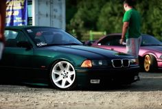 Boston green BMW e36 cabrio on OEM BMW Styling 81 wheels