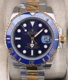 Relógio Rolex Oyster Perpetual Date SUBMARINER – 16233 – Prata & Dourado c/ Fundo Azul – Réplica Premium AAA+ Rolex Oyster Perpetual, Rolex Daytona, Rolex Watches, Designer Clocks, Woman Watches, Tumblr Outfits, Luxury, Blue Nails