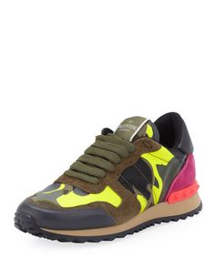 Friday, March 28th: Valentino Rockstud Camo-Print Sneaker, Green/Yellow, 212 872 8940