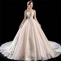 Luxury   Gorgeous Champagne See-through Wedding Dresses 2018 Ball Gown High  Neck Short Sleeve Backless Appliques Lace Beading Tassel Glitter Tulle  Royal ... 60ff0cf2ba59