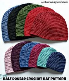 I have a collection of Free Crochet Hat Patterns available on my blog, including this one: Half Double Crochet Hat.  This pattern is written in...