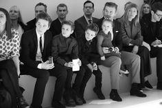 David Beckham et ses enfants au premier rang du défilé Victoria Beckham automne-hiver 2014-2015