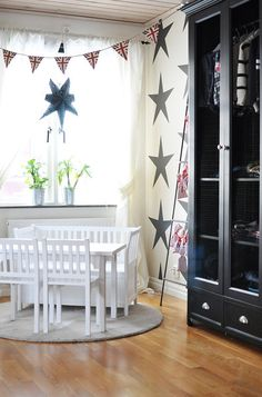 Love the star wall decals. But I think the chairs and table is too white. Maybe the color close to the wall is better.