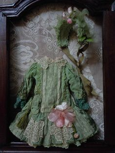 Beautiful Dress Bonnet for antique french Bebe Jumeau Steiner cabinet from believe on Ruby Lane