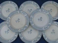 The Exeter blue & white vintage English china plates, old Johnson Bros