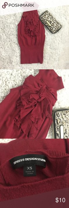 High Neck Ruffle Blouse Adorable red ruffle blouse from Express. Worn once to work party. Excellent condition. Express Tops Blouses
