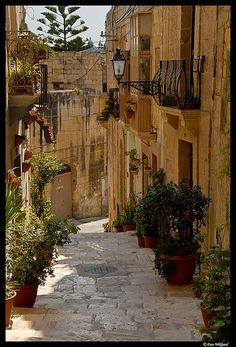 Malta - Mdina. Ancient walled city perched on Malta's highest natural point. Characterised by narrow, winding streets to channel the cooling breezes and confuse invaders.