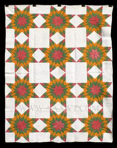 Antique Quilt, Mennonite Star Pattern, Circa 1900