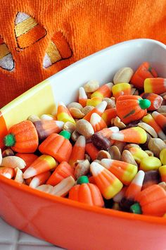 Candy Corn Crunch - candy corn, lightly salted peanuts, and also I throw in the mini M&Ms, divine!