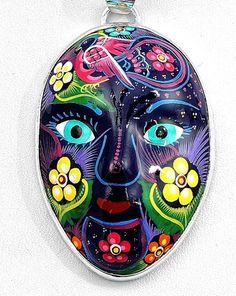 Hand Painted Talavera Pottery Mask Pendant Taxco Mexico | eBay