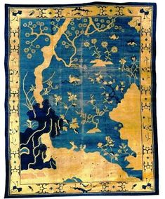 Peking Rugs - historically produced by the Hui-hui, a Persian speaking Chinese minority of Persian and Arab descent. The Hui-hui were brought to the capital to weave for the Imperial Court.