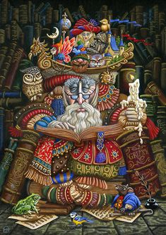 [Fantasy art] Reading by fantasist at Epilogue Art And Illustration, Illustrations, Art Fantaisiste, Street Art, Art Sculpture, Reading Art, Whimsical Art, Surreal Art, American Artists